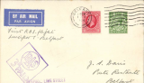 """(GB Internal) Railway Air Service, F/F Liverpool-Belfast on new timetable which put Liverpool into direct aerial communication with Scotland and Ireland, plain etiquette cover franked KGV photogravure 1 1/2d, POA Belfast 1 Nov/1934, purple boxed Railway Letter """"RAS/3d PAID"""" and 'Liverpool, Lime Street' cachets.."""
