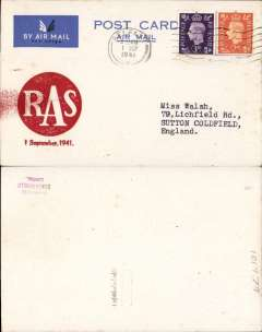 (GB Internal) Inauguration RAS Wartime Airmail Service, Belfast to Liverpool, PC franked 5d (inland fee 2d and air fee 3d), canc Belfast 1 Sep 41 machine cds, large red circular 'RAS/1 September1941' cachet , On arrival at Liverpool the mail was given priority at the censorship office. It was this priority which was mainly responsible for the accelerated delivery, rather than the use of the airmail service, See Beith, p42. Francis Field authentication hs verso.