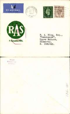 (GB Internal) Inauguration RAS Wartime Airmail Service, Liverpool to Belfast , PC franked 5d (inland fee 2d and air fee 3d), canc Sutton Coldfield machine postmark , large green circular 'RAS/1 September 1941' cachet  tied by red hexagonal GB censor mark. On arrival at Liverpool the mail was given priority at the censorship office. It was this censorship priority which was mainly responsible for the accelerated delivery, rather than the use of the airmail service, See Beith, p42. Francis Field authentication hs verso.