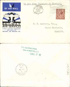 (GB Internal) RAS F/F flown from Plymouth to Cardiff, bs 20/8, official cover franked 1 1/2d.