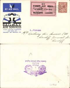 """(GB Internal) Railway Air Services, 1934, Plymouth to Teignmouth, official blue/black/white souvenir cover franked 1 1/2d, postmarked Plymouth 20 Aug 34 machine ds tying black/pink Pitman label,  """"By First Air Mail/(At Ordinary Letter rate)/Plymouth-Cardiff""""."""