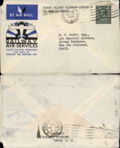(GB Internal) First acceptance of mail from Belfast/Glasgow for carriage on RAS F/F from Glasgow to Manchester, then rail to London, then by air from London to Paris, bs 21/8, official cover franked 4d tied Belfast 20 Aug 1934 machine cancel. Non invasive top corner nibbles, otherwise good.