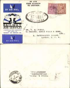 """(GB Internal) RAS expedited delivery cover, flown from Glasgow to London, bs same day arrival  20 Aug, official cover franked 6 1/2d, fine strike black oval """"Post Office/Express/Delvery"""" hs. Uncommon."""