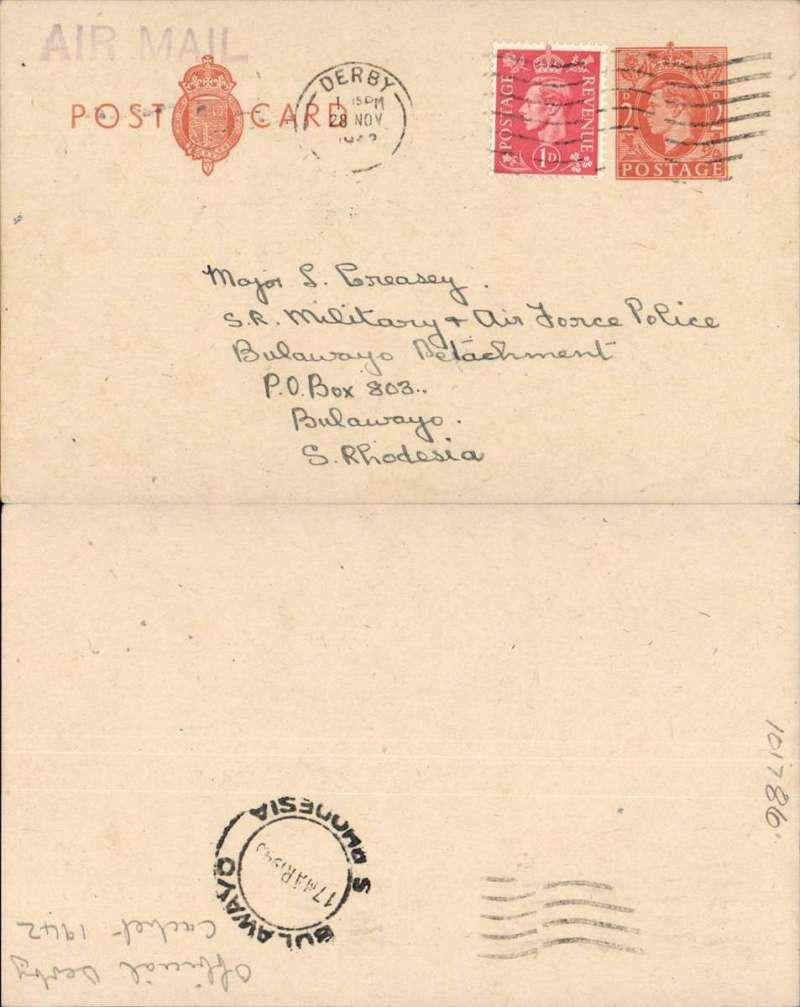 (GB Internal) Wartime 'Emergency Air Mail' cachet on forces airmail from GB to Southern Rhodesia, 2d PSC with additional 1d, tied Derby machine cancel to Bulawayo, bs 17 Mar 194?, black official Derby 'Air Mail' cachet (used in place of an air mail label). Correctly rated 3d, the special rate for Middle East Forces. Uncommon.