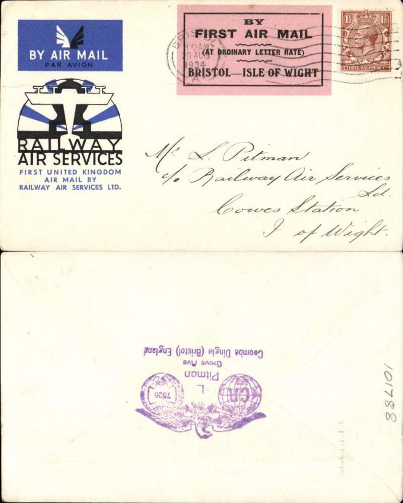 """(GB Internal) RAS F/F Bristol to the Isle of Wight, official cover franked 1 1/2d, Bristol 20 Aug 34 machine cancel tied by black/pink Pitman label,  """"By First Air Mail/(At Ordinary Letter rate)/Bristol-Isle of Wight""""."""