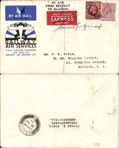 """(GB Internal) Intended F/F Belfast to Glasgow, bs 12.15am 21 Aug, not flown because the London-Glasgow service was abandoned at Birmingham. However, because this had been sent 'Express', it arrived at 12.15am next day ( the usual arrival time being 7am). An official cover franked 6d (Express Delivery) and FDI 1 1/2d photogravure, red/white """"Post Office/Express/Delivery"""" label. Note very few official RAS covers bear the 1 1/2d photogravure because the great majority of official covers had been prepared in advance. An unusual and interesting - a nice one for the exhibit."""