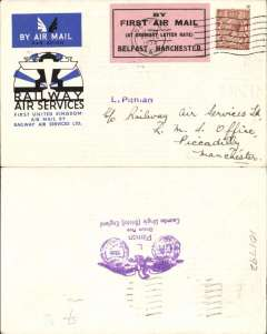 """(GB Internal) RAS F/F Belfast to Manchester, official cover franked 1 1/2d, Bristol 20 Aug 34 machine cancel tied by black/pink Pitman label,  """"By First Air Mail/(At Ordinary Letter rate)/Belfast-Manchester"""". The plane did not proceed beyond Manchester because of bad weather."""