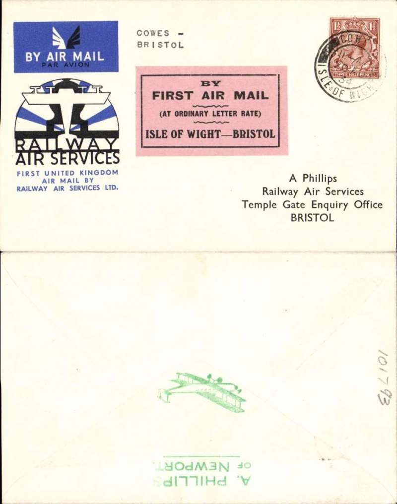 """(GB Internal) RAS F/F Cowes to Bristol, official cover franked 1 1/2d, canc Cowesl 20 Aug 34 cds, black/pink Pitman label,  """"By First Air Mail/(At Ordinary Letter rate)/Isle of Wight/Bristol""""."""