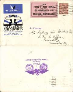 """(GB Internal) RAS F/F Belfast-Manchester, official cover franked 1 1/2d, tied Belfast 20 Aug 34 machine cancel, black/pink Pitman label,  """"By First Air Mail/(At Ordinary Letter rate)/Befast-Manchester""""."""
