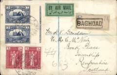 (Iraq) RAF desert air service, Baghdad to London, bs hooded registered 25/10 cds, and on to Scotland, bs oval registered 26/10 ds, reg (label) cover franked 9 annas, canc Baghdad Oct 16, 1924 cds, flown to Cairo on the RAF desert air service, then P&O liner to England, pale green/black airmail etiquette. Good example of 9/10 day accelerated transit time.