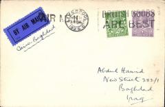 (GB External) RAF Cairo-Baghdad, airmail cover London to Baghdad, no arrival ds, plain cover franked 3 1/2d, canc Liverpool cds, black/dark blue etiq rated scarce by Mair, both tied by uncommon hand stamped 'AIR MAIL' cachet applied at Liverpool, ms 'Cairo-Baghdad'.  Early cover on the RAF route, travelled by sea to Cairo, then by air to Baghdad. The transit time for UK-Iraq mail was, in this way, reduced from 27  to 10 days. Also a neat typewritten text and hand drawn map of the Cairo-Basrah service.