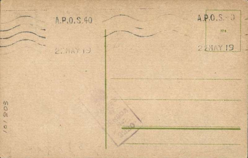 """(GB External) RAF Air Mail """"C"""" Service Cologne-Lympne, unused PPC  postmarked FDI 'A.P.O.S.40/22 May19.' This postmark was introduced for use on 23 May, 1919. Also faint violet boxed 'Passed/ By /Censor/No,2220' handstamp. A neat typewritten text and hand drawn map of this service accompanies this item."""