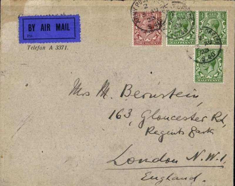 (GB External) Early airmail cover, Cologne to London, dark blue/black airmail etiquette, franked GB 3 1/2d cancelled with an Army Post Office 'S.40 (Cologne)/29 MR 23'  handstamp. Army Post Office S40 was established in Cologne in 1919 to provide postal support of the first British Army of the Rhine (BAOR) and was closed in 1929 when the force was finally withdrawn from Germany.