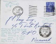 (GB Internal) BEA, the World's First Inter-City Helicopter  Night Mail Service from Petrborough to Norwich, 17/10 arriival ds on front, cover franked 2 1/2d, green eight line flight cachet, signed by the pilot J.A.Cameron.