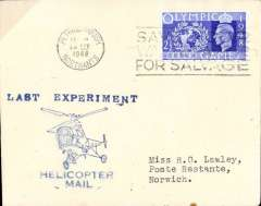 (GB Internal) BEA Helicopter Mails, souvenir cover from Peterborough to Norwich, franked 2 1/2d flown on the LAST DAY of the Experimental service.