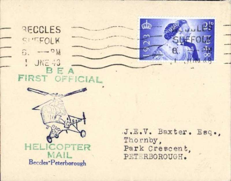 (GB Internal) Inauguration first helicopter-operated public mail service, Beccles to Peterborough, bs, printed souvenir cover, BEA, Very scarce leg.