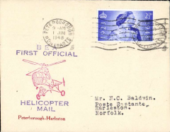 (GB Internal) Inauguration first helicopter-operated public mail service, Peterborough to Harleston, bs 1/6, printed souvenir cover, BEA
