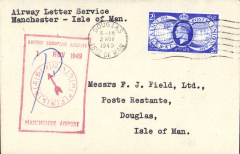 (GB Internal) BEA, F/F extension of Airway Letter Service, Manchester to Isle of Man, plain cover franked 2 1/2d, large red framed 'clock' flight cachet.