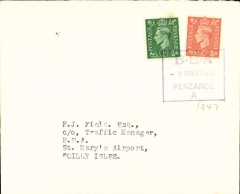 """(GB Internal) Earliest recorded use of the temporary boxed paid cachet introduced when BEA took over the service from Great Western and Southern air lines, Penzance to Scilly Islands, plain cover franked 2 1/2d tied by  viiolet boxed ''8 MAR Paid/Penzance A"""" hand stamp.  A nice one for the exhibit."""