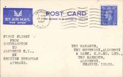 (GB Internal) BEA, first direct flight from Southampton to Alderney (Channel Islands), airmail card franked 2 1/2d canc Swindon 19/ May, 1947 and addressed to The Manager, Guernsey, Alderney and Sark Steamship Company . Only 12 flown. A 100 word typewritten text accompanies this item.