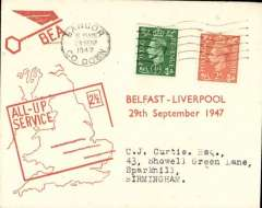 (Ireland) F/F All Up Service between N. Ireland and Great Britain, Belfast to Liverpool, BEA 'All-up Service' cover.