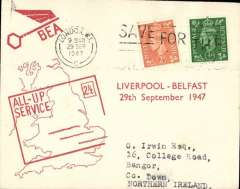 (GB Internal) F/F All Up Service between N. Ireland and Great Britain, Liverpool to Belfast, BEA 'All-up Service' cover.