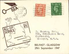 (GB Internal) F/F All Up Service between N. Ireland and Great Britain, Belfast to Glasgow, BEA 'All-up Service' cover.