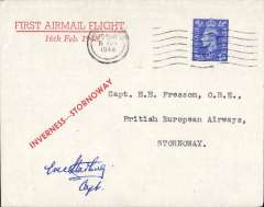 """(GB Internal) Signed BEA All-Up service, Inverness to Stornoway, bs 16/2,  red/white """"First Flight/Inverness-Stornoway/16 Feb 1948"""" imprint corner cover with red st. line 'Inverness-Stornoway' imprint,  Believed only 25 flown. Signed by pilot Captain E. Starling."""