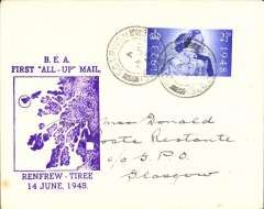 """(GB Internal) Only the second ever reported cover from the BEA 'All Up' service from the Isle of Tiree (the most westerly island in the Inner Hebrides of Scotland) to Glasgow. A plain cover franked 2 2/2d cancelled Scarnish/Isle of Tiree 14 Jne 1948, large violet """"BEA/First 'All Up' Mail/Renfrew-Tiree/14 June 1948"""" with a map of the islands. Beith states""""little mail is known from the first day as the service was not well publicised"""". He reports having seen only one item from this service, and that was from the outgoing Glasgow-Tiree flight ( Beith R, Scottish Air Mails 1919-1979, p22). He makes no mention of any mail from this, the return, flight.  Two years ago we sold the first ever recorded return flight for £285.00."""
