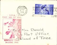 """(GB Internal) A truly RARE first BEA 'All Up' service, Renfrew Airport, Glasgow to the Isle of Tiree, the most westerly island in the Inner Hebrides of Scotland, plain cover franked 2 2/2d canc Glasgow 14 Jne 1948, large red """"BEA/First 'All Up' Mail/Renfrew-Tiree/14 June 1948 with map of the islands. Beith states""""little mail is known from the first day as the service was not well publicised"""". He reports having seen only ONE item of mail from this service. This was from this the outgoing flight , and it bore a red commemorative cachet (see Beith R, Scottish Air Mails 1919-1979, p22 and the illustration of the red cachet on the same page)."""