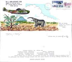 (United States) 50th Anniversary combined 'Cape Town Clipper' US Army Air Corps/RAF mission to the Indian Ocean, from New York to Diego Garcia in the Central Indian Ocean, unofficial cover franked 50c, canc Portland, OR/22 Feb 22 1992, an attractive hand painted cover showing a bull elephant charging the Cape Town clipper flying at tree top level. Jul 1992 cds, Only two such covers were prepared.