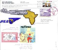 (United States) 50th Anniversary July 1942 Pan Am Emergency Airlift Flights to deliver anti-tank equipment to the US Afrika Korps to stop Rommel's advance on El Alamein, unofficial hand made cover franked 29c, canc Portland, OR/20 Jul 1992 cds, attractive vignette tied by special red Bull Mountain/Oregon/20 Jul 1992 cachet. Only two such covers were prepared.