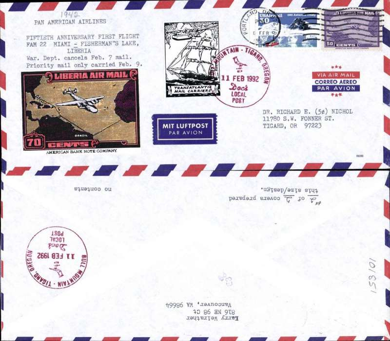 (United States) 50th Anniversary First Flight FGAM 22 Miami to Fisherman's Lake, Liberia, unofficial hand made cover franked 1USD, canc Portland, OR/8 Feb 1992 cds, and two attractive vignettes, one tied by red Bull Mountain/Oregon/11 Feb 1992 cachet. Only two such covers were prepared.
