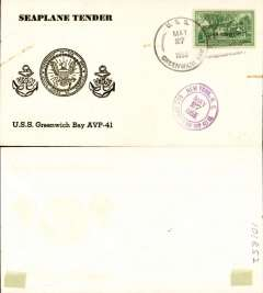 (United States) Flown cover posted on board the USS Greenwich Bay (AVP-41) May 27th, 1955, embossed black on white 'Seaplane Tender' cover franked 3c, also violet double ring 'New York/May 27. USS Greenwich Bay was a US Navy seaplane tender (a boat or ship that supports the operation of seaplanes) in commission from 1945 to 1966. as flagship for the Commander of the U.S. Navy Middle East Forces.