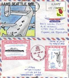 (United States Internal) American Airmail Society Annual Convention, Seattle 1991, unofficial commemorative hand drawn cover, Shenandoah vignette tied by Bull Mountain/12 May 1991 cachet.