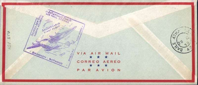 (Canada) F/F FAM 18 Northern Route, Shediac to Foynes, cachet, bs 28/6, official black flight cachet on front, large violet diamond Ireland arrival cachet verso, Pan Am company cover, 21x10cm, franked 30c.