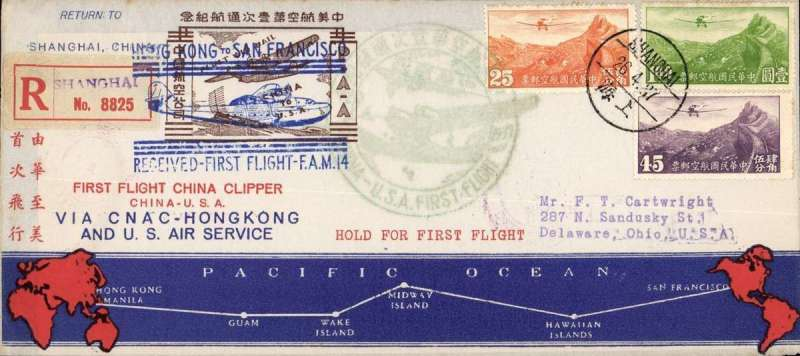 "(China) F/F FAM 14 China Clipper, China to San Francisco, bs 4/5, franked $1.70 canc Shanghai cds,  official green ""China-USA First Flight"" circular cachet, and fine official blue ""Hong Kong to San Francisco....."" cachet, also red two line 'First Flight China Clipper/China-USA' and blue 'Via CNAC-Hong Kong/and US Air Service', registered (label) printed souvenir cover with blue/red route map along bottom and gold ""First Air Mail/China to USA"" illustrated vignette."