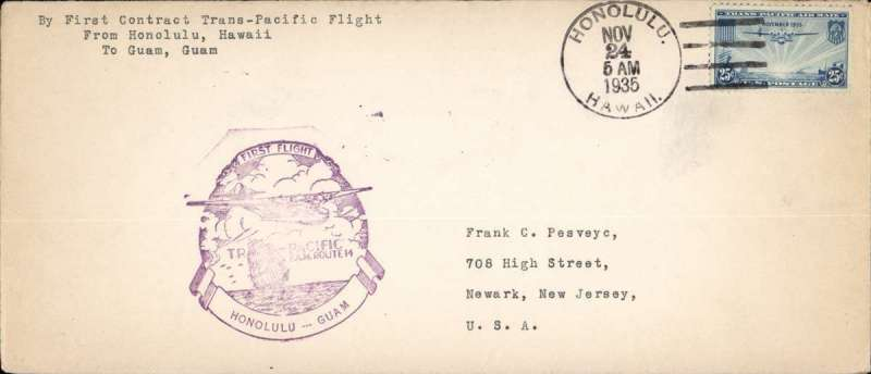(Hawaii) FAM 14 Trans-Pacific service, F/F Honolulu to Guam, bs 27/11, cover, 10x24cm, franked 25c, official violet F/F cachet..