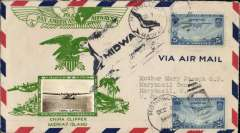 (Midway Island) Midway Island to Honolulu, attractive green/cream Crosby cover with inset photo of 'China Clipper', posted on arrival, Honolulu Dec 7, 1936, black 'Penguin' Midway cachet.