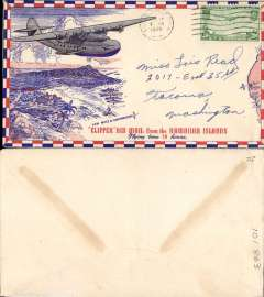 (United States) Red/white/blue airmail cover with beautiful engraving of clipper flying over Hawaii en route to San Francisco, posted on board USS Arizona and  franked 20c tied by USS Arizona machine cancel. The USS Arizona was a US navy battleship sunk during the Japanese attack on Pearl Harbor on 7 December 1941. The wreck still lies at the bottom of Pearl Harbor and the USS Arizona Memorial, dedicated on 30 May 1962 to all those who died during the attack, straddles the ship's hull.