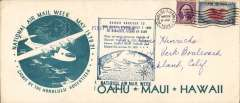 (Hawaii) National Air Mail Week, souvenir cover, 22x10cm, with large green Honolulu Advertiser printed cachet showing clipper flying over Hawaiian Islands, also annexation cachet, franked 9c canc Honululu cds.