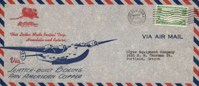 (Hawaii) Inaugural flight of the B314 Honolulu Clipper NC18601, Honolulu to San Francisco and return, souvenir cover, 24x10cm franked 20c, canc Honolulu cds.