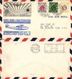 (Hong Kong) Trans Pacific F/F FAM 14 by 'Hong Kong' then 'China' Clipper to San Francisco, bs 4/5, attractive souvenir cover with embossed 'Rising Sun' logo, franked $2, 50c & 30c canc Hong Kong Airmail cds, fine strike official blue flight cachet, Pan Am.