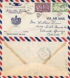"""(Hawaii) Johnston Island, Hawaii to Colarado Springs, airmail """"Transpacific Airmal """"cover with imprint Hawaii Coat of Arms, franked 30c, violet """"Fee Claimed/Colo Springs, CO"""""""
