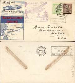 (Chinese Macau) Trans Pacific F/F FAM 14, 'Hong Kong' Clipper, Macao to San Francisco, bs 4/5, violet Macao-USA flight cachets, printed souvenir cover with map of route,