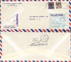 (Singapore) F/F FAM 14, Singapore to Honolulu, cachet, b/s, violet triangular Singapore censor mark, official long cover, 23x10cm.