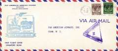 (Singapore) Trans Pacific extension to Singapore, F/F FAM 14, Singapore to Guam, cachet, b/s, violet triangular Singapore censor mark, official long cover, Pan Am.