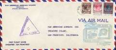 (Singapore) F/F FAM 14, Singapore to San Francisco, cachet, b/s, violet triangular Singapore censor mark, official long cover, 23x10cm.