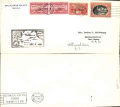 (Philippines) Trans Pacific 'China Clipper' F/F FAM 14, Manila to San Francisco, cachet, b/s, air cover, 22x10cm,  franking includes FDI China Clipper opt set, Pan Am.