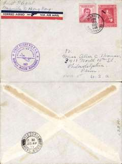 (Philippines) Trans Pacific 'Hong Kong Clipper' F/F FAM 14, Manila to Hong Kong, cachet, b/s, plain cover franked 52c.